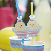 Easter Chick Drinking Straws (10)
